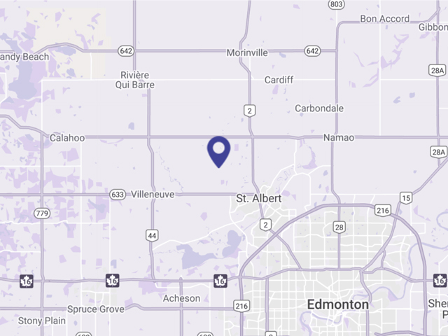 Purple map image showing St. Albert RV and Boat Storage location Northwest of St. Albert.
