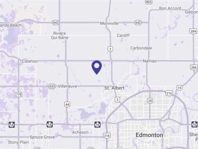 Purple map image showing St. Albert RV and Boat Storage location Northwest of St. Albert.