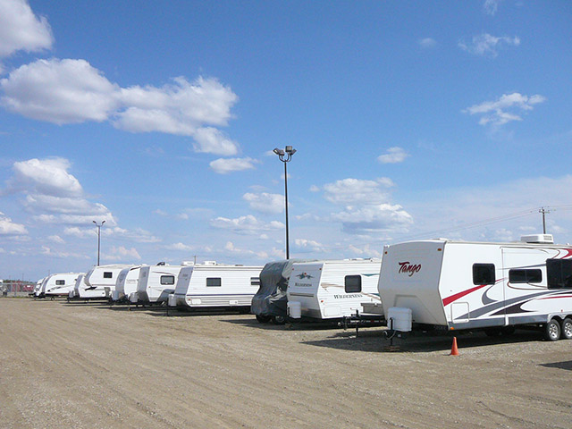 Photo of RV Storage lot with security lighting